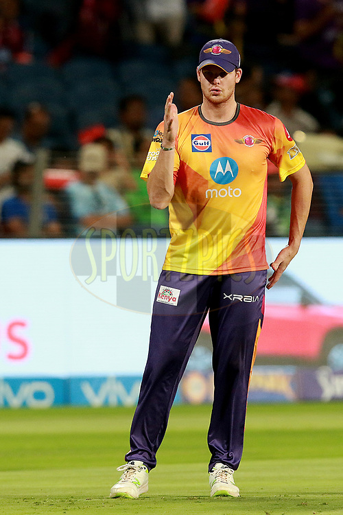 Steven Smith captain of RPS before match 30 of the Vivo 2017 Indian Premier League between the Rising Pune Supergiants and the Kolkata Knight Riders  held at the MCA Pune International Cricket Stadium in Pune, India on the 26th April 2017<br /> <br /> Photo by Rahul Gulati - Sportzpics - IPL