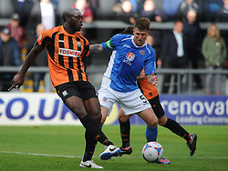 Eastleighs Dean Beckworth Stops Barnets John Akinde, Barnet v Eastleigh, Vanarama Conference, Saturday 4th October 2014