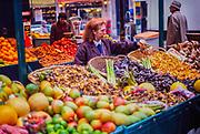 Vegetables display traditional greengrocer food shop, city centre Paris, France 1987