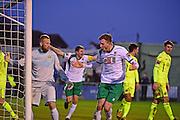 Bognor Regis Town defender Ed Sanders (6) scores a goal 1-1 during the Ryman Premier League match between Bognor Regis Town and Havant & Waterlooville FC at Nyewood Lane, Bognor, United Kingdom on 26 December 2016. Photo by Jon Bromley.