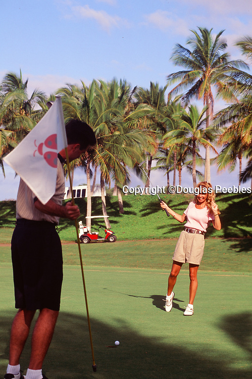 Couple, Golfing, Koolina, Oahu, Hawaii