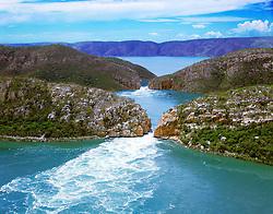 Aerial view of the Horiztonal Waterfalls inTalbot Bay on the Kimberley coast.