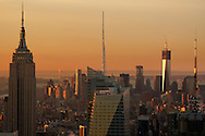 Looking toward downtown Manhattan during sunrise in New York City.