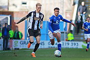 Chesterfield forward Jacob Brown (44) on the attack during the EFL Sky Bet League 2 match between Chesterfield and Notts County at the Proact stadium, Chesterfield, England on 25 March 2018. Picture by Nigel Cole.