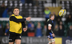 Sam Burgess of Bath Rugby warms up prior to kick off. - Photo mandatory by-line: Alex James/JMP - Mobile: 07966 386802 - 28/11/2014 - SPORT - Rugby - Bath - Recreation Ground - Bath  v Harlequins  - Aviva premiership