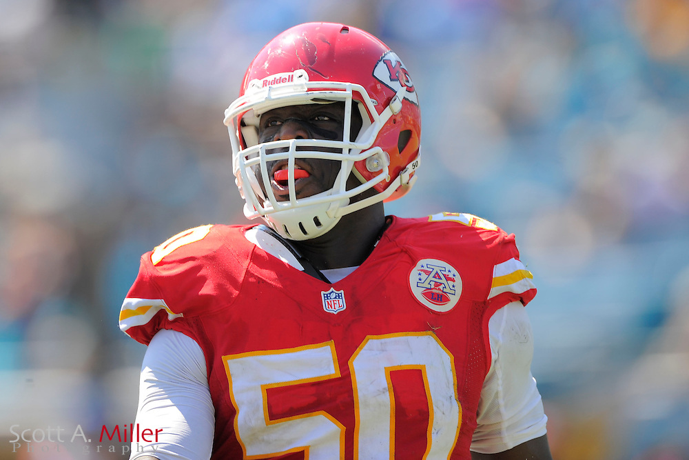 Kansas City Chiefs outside linebacker Justin Houston (50) celebrates a play during the Chiefs 28-2 win over the Jacksonville Jaguars at EverBank Field on Sept. 8, 2013 in Jacksonville, Florida. The <br /> <br /> &copy;2013 Scott A. Miller