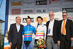Katarzyna Niewiadoma (Rabo-Liv Cycling Team) and Lizzie Armitstead (Boels-Dolmans Cycling Team) wear the Junior and Elite Women's WorldTour Leader's Jerseys. The riders are accompanied by UCI Management Committee member Renato Di Rocco,  UCI President Brian Cookson and CSP President Mario Minervino.