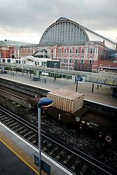 UK ENGLAND LONDON 5JUN06 - A DRS train carrying white flasks containing highly radioactive spent nuclear fuel rolls through Kensington Olympia at 7:18 pm on Monday 5 June 2006. Despite protests, potentially hazardous nuclear transports are frequently transported through major urban areas utilising the national rail network...jre/Photo by Jiri Rezac..© Jiri Rezac 2006..Contact: +44 (0) 7050 110 417.Mobile:  +44 (0) 7801 337 683.Office:  +44 (0) 20 8968 9635..Email:   jiri@jirirezac.com.Web:    www.jirirezac.com..© All images Jiri Rezac 2006 - All rights reserved.