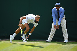 Benoit Paire (FRA) plays his second round match at the 2019 Wimbledon Championships at the AELTC in London, UK, on July 3, 2019. Photo by Corinne Dubreuil/ABACAPRESS.COM