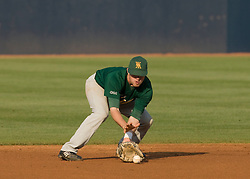 William and Mary shortstop Lanny Stanfield (5) field a ground ball against UVA.  The #16 ranked Virginia Cavaliers baseball team faced the William and Mary Tribe at the University of Virginia's Davenport Field in Charlottesville, VA on April 23, 2008.