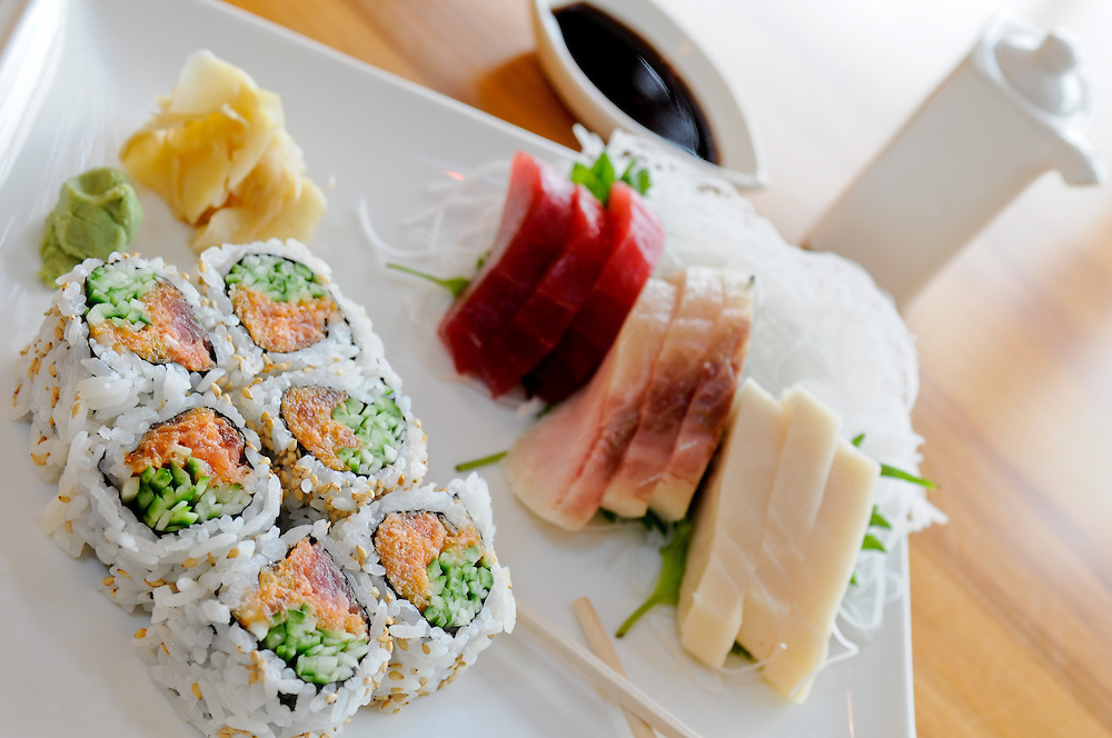 Sushi in window light at Sake Restaurant in Braintree, MA.