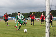 Ryan Stewart fires home a late penalty to give Fintry Shamrock a win over Kellys Gunners and the 2nd division title - Dundee Saturday Morning FA - Super Saturday at Dundee UNI<br /> <br />  - &copy; David Young - www.davidyoungphoto.co.uk - email: davidyoungphoto@gmail.com