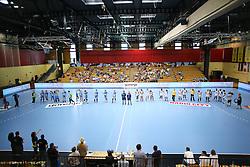 Teams before handball match between National Teams of Slovenia and France in Qualification of 2016 Women's European Championship, on June 13th, in Rdeca Dvorana, Velenje. Photo by Morgan Kristan / Sportida