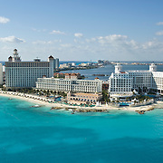 Aerial view of the hotel zone at Punta Cancun.<br /> Cancun, Quintana Roo. Mexico.