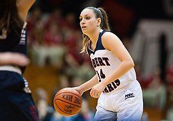 March 6 2016: Robert Morris Colonials guard Ashley Ravelli (14) handles the ball during the second half in the NCAA Women's Basketball game between the Fairleigh Dickinson Lady Knights and the Robert Morris Colonials at the Charles L. Sewall Center in Moon Township, Pennsylvania (Photo by Justin Berl)