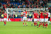 Football - 2017 / 2018 _Wales v Austria_FIFA World Cup Qualifier 2018<br /> <br /> Wales celebrate victory, Wayne Hennessey of Wales & Hal Robson-Kanu of Wales prominent --- at Cardiff City Stadium.<br /> <br /> COLORSPORT/WINSTON BYNORTH