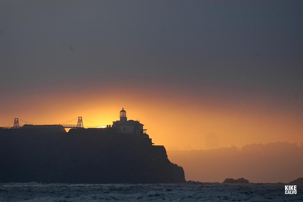 Bonita Lighthouse at sunrise.San Francisco Bay, California, United States