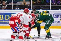 2020-01-17 | Umeå, Sweden:Referee drops the puck in  HockeyAllsvenskan during the game  between Björklöven and Timrå at A3 Arena ( Photo by: Michael Lundström | Swe Press Photo )<br /> <br /> Keywords: Umeå, Hockey, HockeyAllsvenskan, A3 Arena, Björklöven, Timrå, mlbt200117