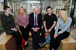 Pictured: Mr Swinney met modern apprentices Kayleigh Singer (grey jumper); Georeg McArthur (pink jumper), Holly Whitehead (black and white dress) and Jake Stefanovic, an ambassador from the Scottish Government&rsquo;s childcare recruitment campaign.<br /> Deputy First Minister John Swinney visited Cowgate Nursery in Edinburgh to meet children, staff and modern apprentices working in early years and childcare. Mr Swinney confirmed that a record number of early years apprenticeships are expected to start this year as part of the expansion of free nursery and childcare.  Mr Swinney toured the nursery and discussed the City of Edinburgh Council&rsquo;s plans to expand the early years and childcare workforce and met with modern apprentices as well as Jake Stefanovic, an ambassador from the Scottish Government&rsquo;s childcare recruitment campaign.<br /> <br /> <br /> Ger Harley | EEm 13 February 2018