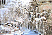 GUYUAN, CHINA - JANUARY 27: (CHINA OUT) <br /> <br /> The Ru River waterfalls get frozen at Pengyang County on January 27, 2016 in Guyuan, Ningxia Hui Autonomous Region of China. Affected by the cold snap throughout the country, most parts in China provinces encountered cold weather and heavy snow recently.<br /> ©Exclusivepix Media