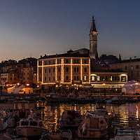 The town sets up for New Years Eve in Rovinj Croatia.