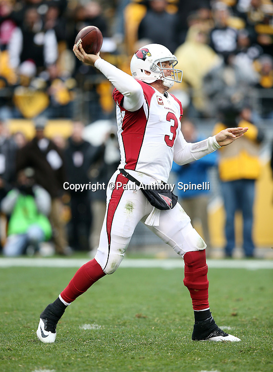 Arizona Cardinals quarterback Carson Palmer (3) throws a pass during the 2015 NFL week 6 regular season football game against the Pittsburgh Steelers on Sunday, Oct. 18, 2015 in Pittsburgh. The Steelers won the game 25-13. (©Paul Anthony Spinelli)
