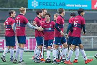 AMSTELVEEN - team KZ tijdens de hoofdklasse competitiewedstrijd mannen, Amsterdam-HCKC (1-0).  COPYRIGHT KOEN SUYK