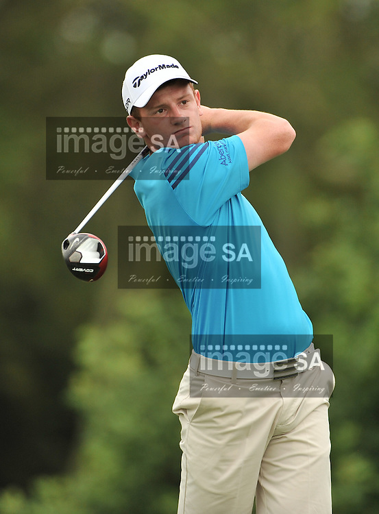 MALELANE, SOUTH AFRICA - Wednesday 18 February 2015, Ben Kinsley of Scotland tees off on the 4th during the first round foursomes of the annual Leopard Trophy, a two day test between teams of the South African Golf Association and the Scottish Golf Union, at the Leopard Creek Golf Estate.<br /> Photo Roger Sedres/ Image SA