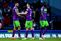 Eros Pisano, Callum O'Dowda and Famara Diedhiou of Bristol City celebrate victory over Blackburn Rovers - Mandatory by-line: Robbie Stephenson/JMP - 09/02/2019 - FOOTBALL - Ewood Park - Blackburn, England - Blackburn Rovers v Bristol City - Sky Bet Championship