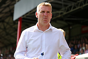Brentford Manager Dean Smith  throwning during the EFL Sky Bet Championship match between Brentford and Ipswich Town at Griffin Park, London, England on 13 August 2016. Photo by Matthew Redman.