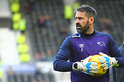 Derby County goalkeeper Scott Carson (1) during the EFL Sky Bet Championship match between Derby County and Aston Villa at the Pride Park, Derby, England on 10 November 2018.
