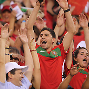 Portuguese fans in action during the Portugal V Ireland International Friendly match in preparation for the 2014 FIFA World Cup in Brazil. MetLife Stadium, Rutherford, New Jersey, USA. 10th June 2014. Photo Tim Clayton