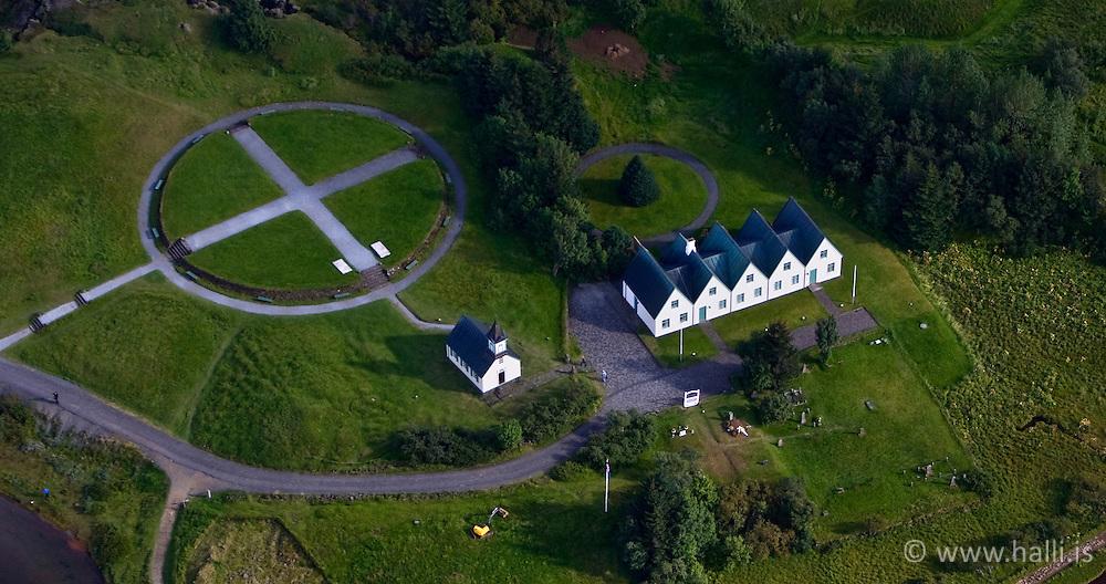 Aerial photo of the old farm and the church at Thingvellir, Iceland - Loftmynd af kirkjunni og gamla bænum á Þingvöllum