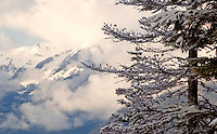 Winter landscapes of Whistler, BC Canada with the mountains peeking through clouds.