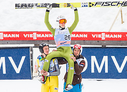 Winner Jurij Tepes of Slovenia celebrate with Peter Prevc of Slovenia and Robert Kranjec of Slovenia during the Flying Hill Individual Event at 4th day of FIS Ski Jumping World Cup Finals Planica 2013, on March 24, 2013, in Planica, Slovenia. (Photo by Vid Ponikvar / Sportida.com)