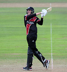 Somerset's Craig Overton hits out - Photo mandatory by-line: Harry Trump/JMP - Mobile: 07966 386802 - 29/07/15 - SPORT - CRICKET - Somerset v Durham - Royal London One Day Cup - The County Ground, Taunton, England.