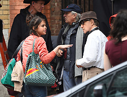 Selena Gomez and Woody Allen on the set of his untitled drama in the West Village. 19 Sep 2017 Pictured: Selena Gomez. Photo credit: STB / MEGA TheMegaAgency.com +1 888 505 6342