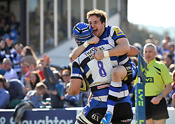 Martin Roberts celebrates with Leroy Houston (both Bath) after Houston scores the opening try of the match - Photo mandatory by-line: Patrick Khachfe/JMP - Tel: Mobile: 07966 386802 09/03/2014 - SPORT - RUGBY UNION - The Recreation Ground, Bath - Bath v Exeter Chiefs - LV= Cup.