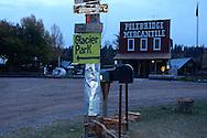Polebridge at dawn in fall. North Fork Flathead River Valley, northwest Montana.