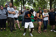 AUGUST 26, 2018  ATHENS, OHIO:<br /> Crowd members were enjoying the sounds of the Ohio University Marching 110 as they performed for the crowd on College Green after the freshman convocation at Ohio University on August 26, 2018 in Athens, Ohio.