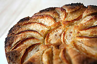 Hannukah apple cake, by .American chef Daniel Rose, of the restaurant Spring, in Paris.....Photograph by Owen Franken for the NY Times ..December 10, 2008...