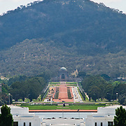 "View of Old Parliament House and the Australian War Memorial from Parliament House is the meeting place of the Parliament of Australia. It is located in Canberra, the capital of Australia. It was opened on 9 May 1988 by Queen Elizabeth II, Queen of Australia.[1] Its construction cost was over $1.1 billion. At the time of its construction it was the most expensive building in the Southern Hemisphere. Prior to 1988, the Parliament of Australia met in the Provisional Parliament House, which is now known as ""Old Parliament House""."