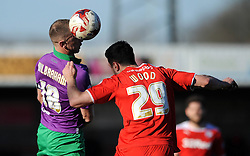 Bristol City's Aaron Wilbraham challenges for the header with Crawley's Richard Wood - Photo mandatory by-line: Dougie Allward/JMP - Mobile: 07966 386802 - 07/03/2015 - SPORT - Football - Crawley - Broadfield Stadium - Crawley Town v Bristol City - Sky Bet League One