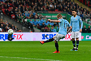 Kevin De Bruyne (17) of Manchester City shoots at goal from a free kick during the Carabao Cup Final match between Chelsea and Manchester City at Wembley Stadium, London, England on 24 February 2019.