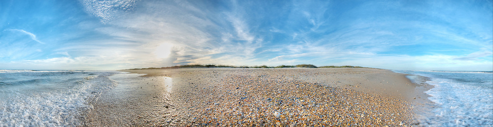 Ocracoke Shell Shore<br /> <br /> Panoramic scene on beach in Ocracoke Island, NC. Print Size (in inches): 15x4; 24x6.5; 36x10; 48x13; 60x16.5; 72x20