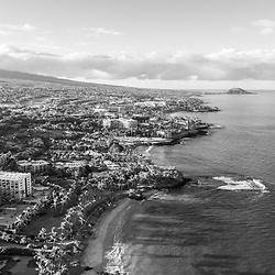 Maui Hawaii aerial drone black and white photo of Wailea-Makena coastline beaches including Mokapu Beach, Ulua Beach and Wailea Beach along the Pacific Ocean. Copyright ⓒ 2019 Paul Velgos with All Rights Reserved.