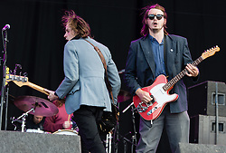 "© Licensed to London News Pictures. 28/08/2015. Reading Festival, UK. Palma Violets performing at Reading Festival on Day 1 of the festival.  In this picture - Alexander ""Chilli"" Jesson (left), Samuel Thomas Fryer (right) Photo credit: Richard Isaac/LNP"