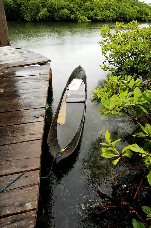 Dugout Canoe in Lagoon