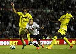 Derby County's Johnny Russell is fouled by Villarreal CF's Victor Ruiz - Mandatory by-line: Robbie Stephenson/JMP - 07966386802 - 29/07/2015 - SPORT - FOOTBALL - Derby,England - iPro Stadium - Derby County v Villarreal CF - Pre-Season Friendly