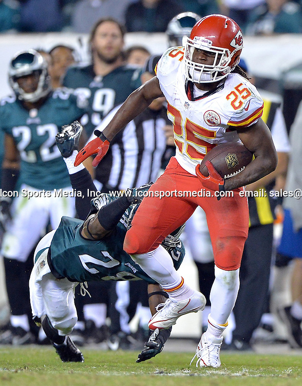 Sept. 19, 2013 - Philadelphia, PA, USA - Kansas City Chiefs running back Jamaal Charles (25) shakes off Philadelphia Eagles strong safety Earl Wolff on a run in the fourth quarter at Lincoln Financial Field in Philadelphia, Pennsylvania, on Thursday, September 19, 2013. The Chiefs won, 26-16